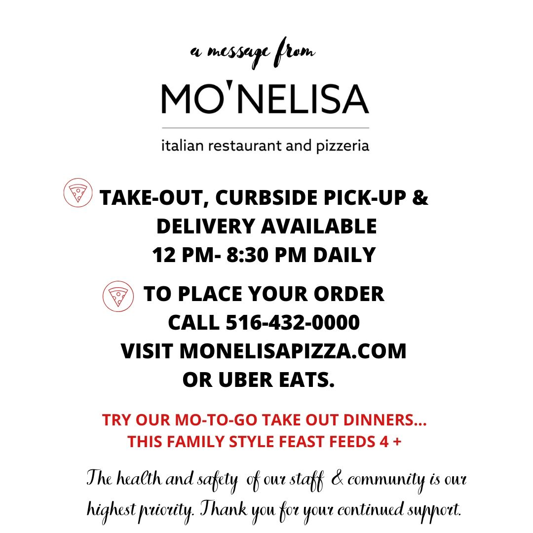 WE ARE OPEN FOR TAKE-OUT & DELIVERY